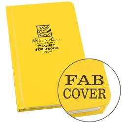 Field book, hardbound, fabrikoid cover, all weather, yellow, transit