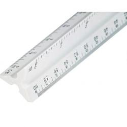 "Plastic scale, triangular, white, 12"" Engineer"