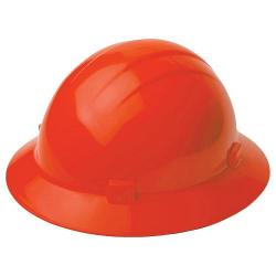 Americana Hard hat, 4-pt ratchet, full brim, non vented, color hi-viz orange