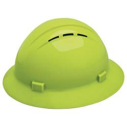 Americana Hard hat, 4-pt ratchet, full brim, vented, color hi-viz lime