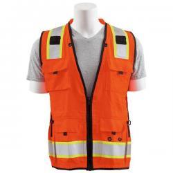 Surveyors vest, solid front/mesh back, 15 pockets, Class 2, orange, size Large