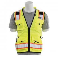 Surveyors vest, solid front/mesh back, 15 pockets, Class 2, yellow, size Large