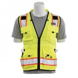 Surveyors vest, solid front/mesh back, 15 pockets, Class 2, yellow, size Medium