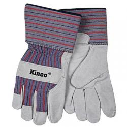 Gloves, unlined, leather palms, gray, size xlarge
