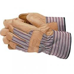 Gloves, unlined, grain pigskin, leather palms, palomino, size small