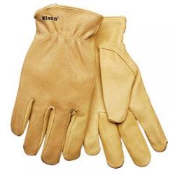 Gloves, unlined, grain palm, golden color, size large