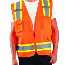 Vest, value solid, two-tone, Class 2, orange, size medium