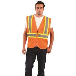 Vest, mesh, two-tone, zipper, Class 2, orange, size 2X