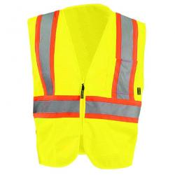 Vest, mesh, two-tone, zipper, Class 2, yellow, size 2X