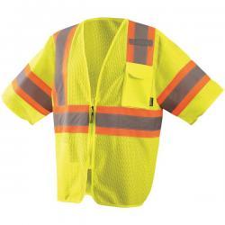 Vest, mesh, two-tone, w/zipper, class 3, yellow, size 2X
