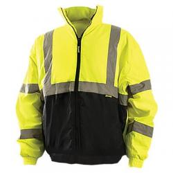 Bomber jacket, quilted polyester lining, hi-vis, yellow, size large