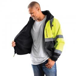 Bomber jacket w/removable liner, economy, three-way, class 3, yellow, size medium