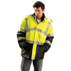 Cold weather parka, premium insulated, class 3, black bottom, yellow, size 2X