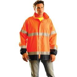Rain jacket, premium breathable, class 3, orange, size large