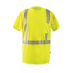 Short Sleeve T-shirt, Wicking Polyester Birdseye, Yellow, Class 2, size Small