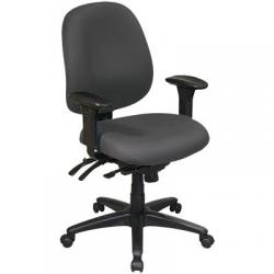 Chair, ergonomic, high back, black fabric