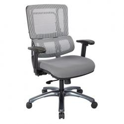 Vertical grey mesh back chair, grey seat cushion