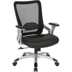 Manager Chair, mesh back with black leather seat