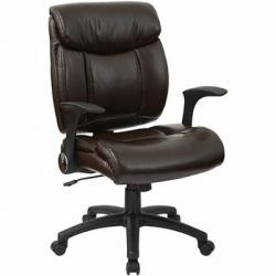 Managers chair, faux leather, with flip arms, color chocolate