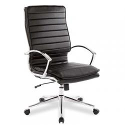 Chair, high back faux leather, with leather arms, chrome base, color black