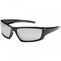 Eyewear, sunburst bouton optical, black frame/silver mirror lens