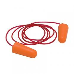 Ear plugs, corded, disposable, foam, orange, 100per/bx
