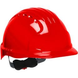 Hard hat, evolution deluxe, non vented, standard brim, class E, red