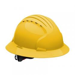 Hard hat, evolution deluxe, non vented, full brim, class E, yellow