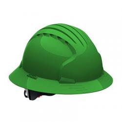 Hard hat, evolution deluxe, non vented, full brim, class E, green