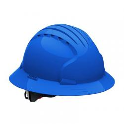 Hard hat, evolution deluxe, non vented, full brim, class E, blue
