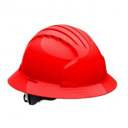 Hard hat, evolution deluxe, non vented, full brim, class E, red