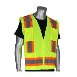 Vest, surveyors, solid front/mesh back, two-tone, yellow, size small