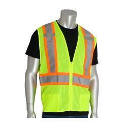 """Vest, mesh, two-tone, """"D"""" ring, class 2, yellow, size Large"""