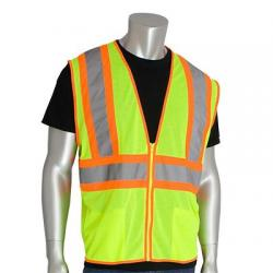 Vest, class 2 value, two tone, mesh, his-vis, lime yellow, large