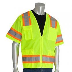 Vest, class 3, surveyor, two tone, hi vis, lime yellow, 3x