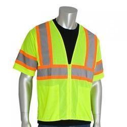 Vest, class 3, two tone, mesh, hi-vis, lime yellow, 4x