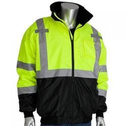 Bomber jacket, class 3, fleece liner, hi-vis, yellow, size 2x