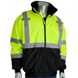 Bomber jacket, class 3, fleece liner, hi-vis, yellow, size medium