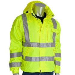 Rain jacket, heavy duty, waterproof, class 3, yellow, size Small