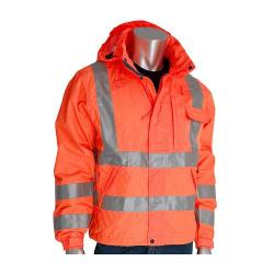 Rain jacket, heavy duty, waterproof, class 3, orange, size Large