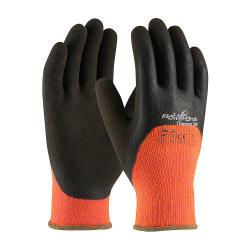 Gloves, powergrab thermo, 3/4 microfinish grip, hi-vis orange, size small