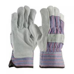 Gloves, split leather palms, safety cuffs, medium