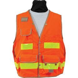 Vest, survey safety utility, snap closure, orange, Class 2, size Large