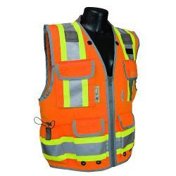Vest, survey safety utility, zipper, Class 2, orange, size small