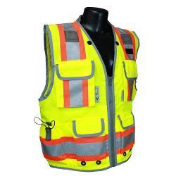 Vest, survey safety utility, zipper, Class 2, yellow, size medium