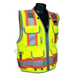 Vest, survey safety utility, zipper, Class 2, yellow, size jumbo