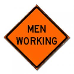 Sign, non-reflective, 48x48, mesh, 15oz, bright orange, roll up, Men Working