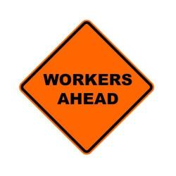 Sign, non-reflective, 48x48, mesh, 15oz, bright orange, roll up, Workers Ahead
