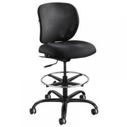Task stool, swivel, marine blue fabric