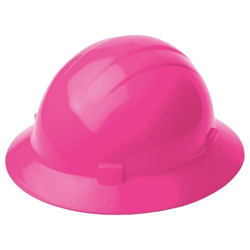 Americana Hard hat, 4-pt ratchet, full brim, non vented, color: hi-viz pink